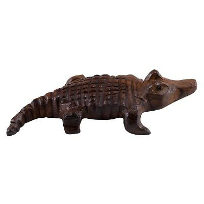 """Hand Carved Wood Wooden Ironwood Alligator Figurine 5.25"""" Long Made In USA"""