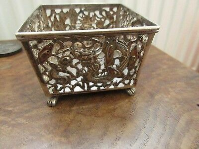 Antique Solid  Silver Oriental Basket Dish......chinese Dragons........