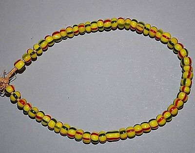 Antique European Yellow Glass W/ Red & Green Stripes Spacer Beads, African Trade