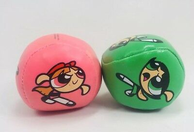 Vintage Lot 2 POWERPUFF GIRLS Hacky Sack Kick Ball Green Pink Buttercup Blossom
