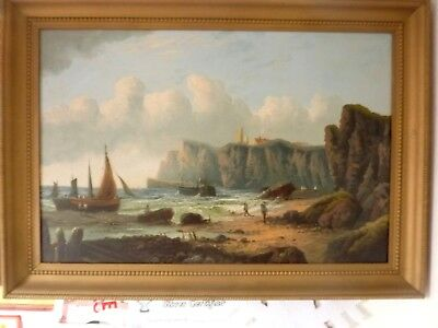 Fine Large 19th century irish Coastal Scene Oil Painting,signed o'connell