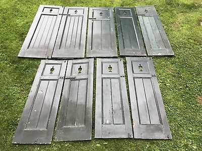 Lot Of 9 Antique Wood Shutters Trophy Cut Out Forest Green Architectural Salvage