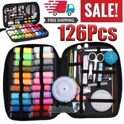 126Pcs Sewing Kit Measure Tape Scissor Thimble Thread Needle Home Travel Set USA