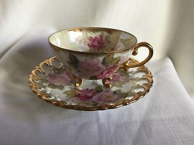 Shafford Hand Painted Open-Lace 3-Legged Cup And Saucer Japan