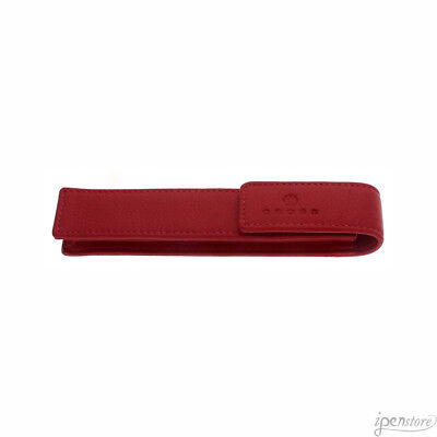 Cross Leather Single Pen Case with Snap Closure, Red