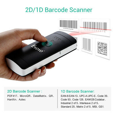 Eyoyo 2D/1D/QR Barcode Scanner Wireless Rechargeable for PC,Smartphone,tablet