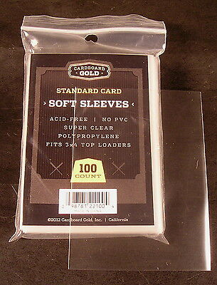 300 Quality plastic SOFT PENNY CARD SLEEVES for 3x4 Top Loaders - Cardboard Gold