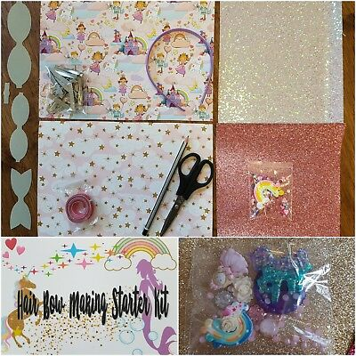 Small Hair Bow Making Starter craft Kit fabrics glitters clips templates canvas