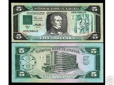 Liberia 5 Dollars P19 1989 Tapping Tree Unc Africa Money Bill Bank Note