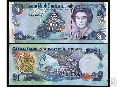 Cayman Islands 1 Dollar P26 A 2001 C 2 Queen Fish Coral Unc Caribbean Bank Note