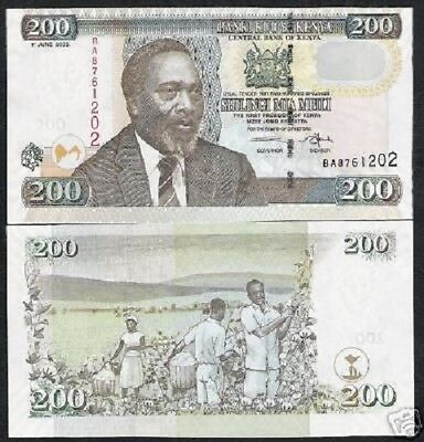 Kenya Africa 200 Shillings P43 2005 Kenyatta Cotton Unc 10 Pcs Lot