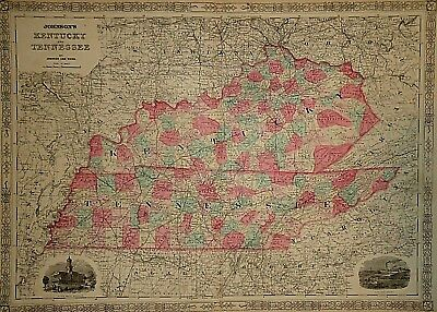 Vintage 1865 KENTUCKY - TENNESSEE MAP Old Antique Original Atlas Map 41418