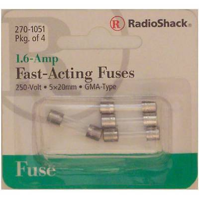 Fast-Acting 1.6-Amp 250 Volt GMA-Type Glass Fuses 5x20mm 1.6A 250V 4/PK