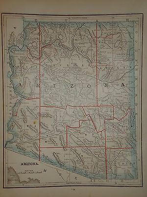 Vintage 1891 Arizona Territory Map ~ Old Antique Atlas Map Free S&h 1891/032717