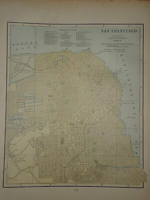 Vintage 1891 San Francisco Map ~ Old Antique Atlas Map Free S&h 1891/032717