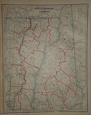 Vintage 1891 New Hampshire Vermont Map  Old Antique Atlas Map Free S&h 91/032717