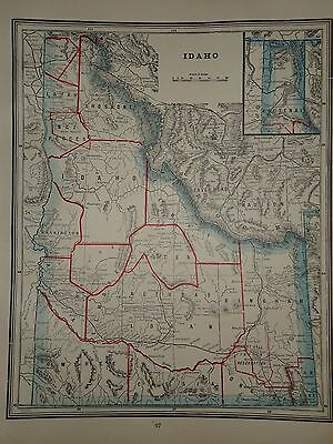 Vintage 1891 Idaho Map ~ Old Antique Atlas Map Free S&h 1891/032717