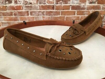 Minnetonka Dusty Brown Suede Lane Studded Slip on Moccasin Loafer Flats 9 40 New