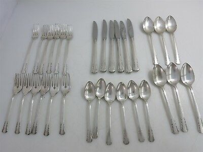 6 Place Settings of 1881 Rogers Silver Plate Forget Me Not Patterned Flatware