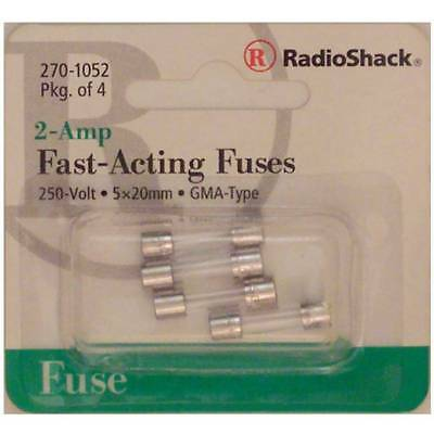Fast-Acting 2-Amp 250 Volt GMA-Type Glass Fuses 5x20mm 2A 250V 4/PK