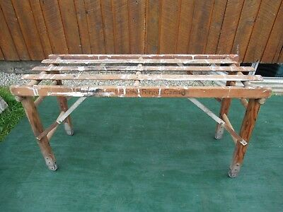 """Vintage Wooden Wash Tub Bench Stand with Folding Legs 22"""" High"""