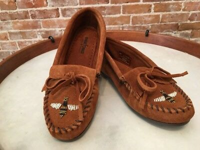 Minnetonka Brown Suede Moko Beaded Bee Slip on Moccasin Loafer Flats 9 40 New