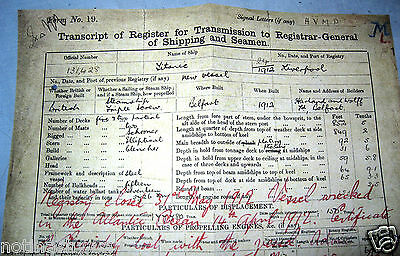 TITANIC Trans script Document Ship Antique Ephemera Disaster Historic Liverpool