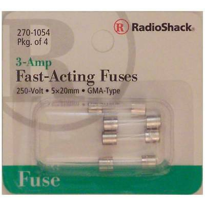 Fast-Acting 3-Amp 250 Volt GMA-Type Glass Fuses 5x20mm 3A 250V 4/PK
