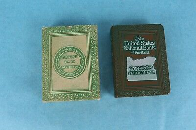 Vintage 1923 Bankers Utilities Leather Bound Book Coin Bank Portland Oregon /Box