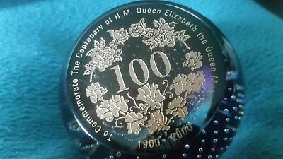 Caithness To Commemorate The Centenary Of H M Queen Mother  Paperweight 24/200.