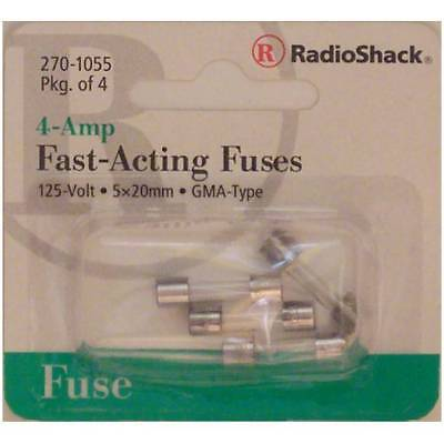 Fast-Acting 4-Amp 250 Volt GMA-Type Glass Fuses 5x20mm 4A 250V 4/PK