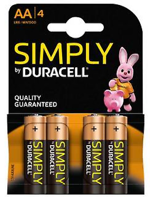 Duracell AA Simply Power Alkaline Battery  MN1500 / LR6  -  Pack of 4 Batteries