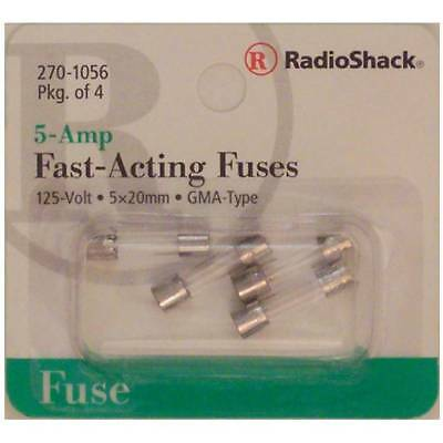 Fast-Acting 5-Amp 250 Volt GMA-Type Glass Fuses 5x20mm 5A 250V 4/PK