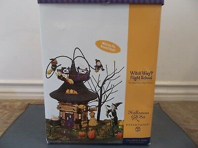 "Department 56  ""WITCH WAY FLIGHT SCHOOL""  56.55347 ANIMATED & RETIRED 2004 EUC"