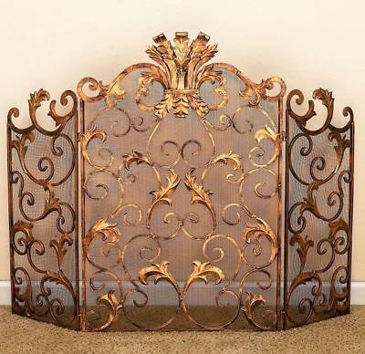 Horchow Tuscany Antique Gold Iron Acanthus Leaf Fireplace Screen w/Mesh,46.5''W.