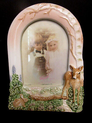 "BEAUTIFUL Terragraphics Deer- Bambi W/ Bunny Standing Picture Frame 3 1/2"" X 5"""
