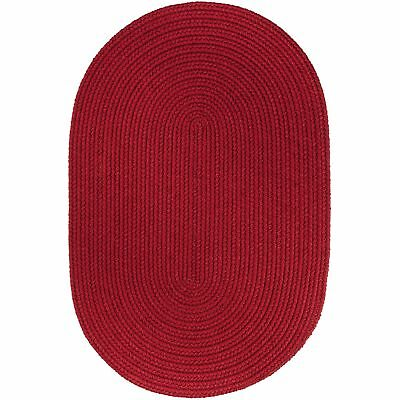 Mau Braided Rug Brilliant Red Washable Indoor/Outdoor Kitchen Carpet