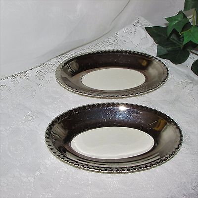 Gray's Pottery Small Oval Relish Dish 2 Wide Silver Band Crazing Jb Old English