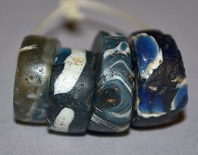 Ancient Folded Islamic Mandrel Wound Glass Beads Found In Mali, African Trade
