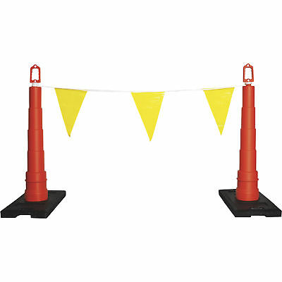 Safety Rail Company 105ft Warning Line w/Safety Cones/Flags-Yellow/Orange