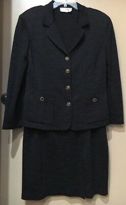 St John Collection by Marie Gray Black Textured Skirt Suit Size 14