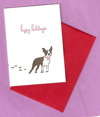 Boston Terrier Christmas Cards Box of 10 happy holidays Printed in USA