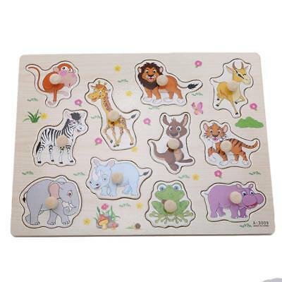Zoo Animals Wooden Jigsaw Children Kids Baby Learning Educational Puzzle Toy LC