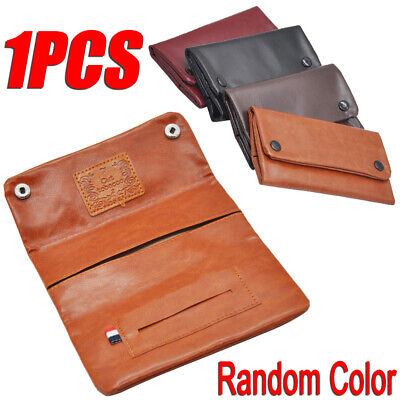 Leather Cigarette Tobacco Pouch Bag Case Rolling Paper Pipe Holder Portable