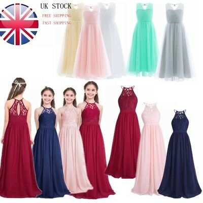 Girls Flower Party Dress Kid Princess Prom Formal Wedding Bridesmaid Long Dress