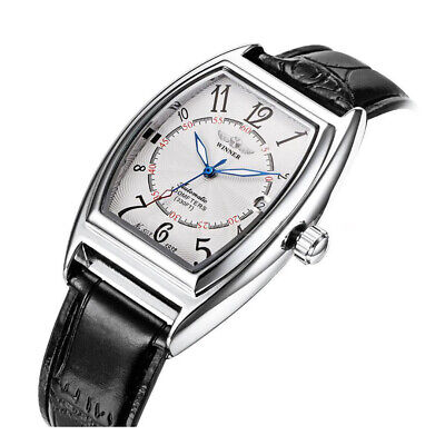 New Oval WINNER Automatic Stainless Skeleton Leather Band Strap DATE Men's Watch
