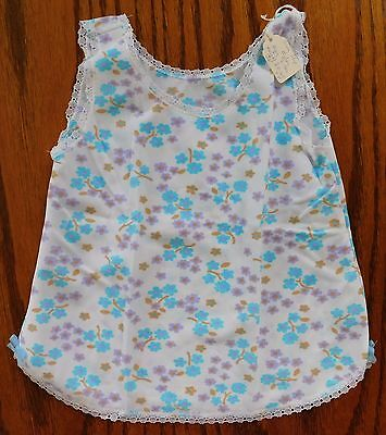 Girls flowery petticoat brushed nylon slip Age 2 years UNUSED vintage 1970s blue