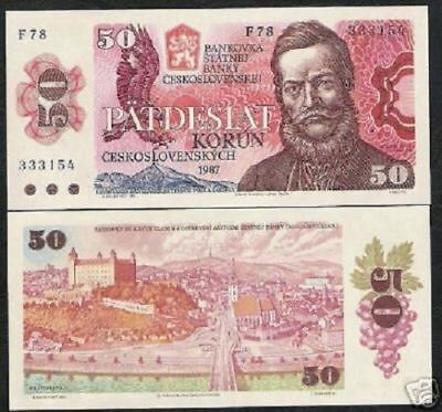 Czechoslovakia 50 Korun P 96 1987 Euro Eagle Unc Money Bill European Bank Note