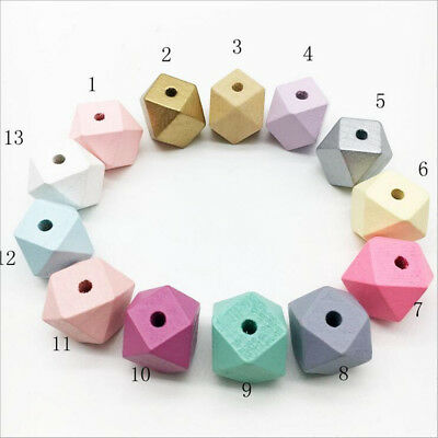 DIY Mixed Wooden Beads Cross Sections Geometric Beads For crafts Jewelry  15mm