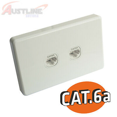 Cat6a RJ45 2Gang Wall Plate Clipsal Style Network LAN 2Port +C-Clip Aw2k6a